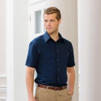 Short sleeve Tencel® fitted shirt Thumbnail