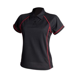 Women's piped performance polo Thumbnail