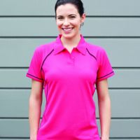 Women's piped performance polo Fuschia Sale Thumbnail