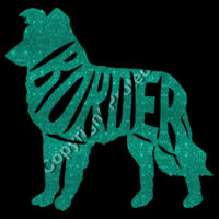 Border Collie turquoise Glitter - Result Core Mens Printable Sshell B/Warm Design