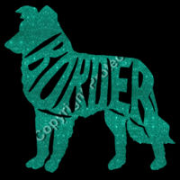 Border Collie turquoise Glitter - Result Core Ladies Printable Softshell jacket Design