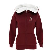 Ladies Sherpa Fleece Zip Hoodie-Peach Finished Thumbnail